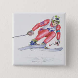 Skier Performing Jump 2 15 Cm Square Badge