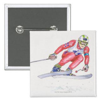 Skier Performing Jump 2 15 Cm Square Badge