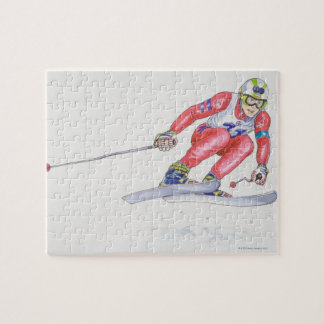 Skier Performing Jump 2 Jigsaw Puzzle