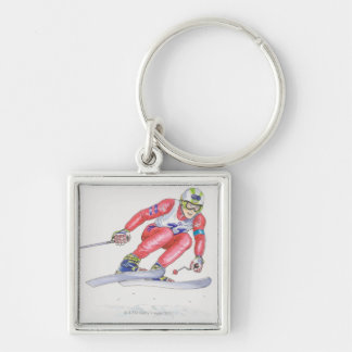 Skier Performing Jump 2 Silver-Colored Square Key Ring