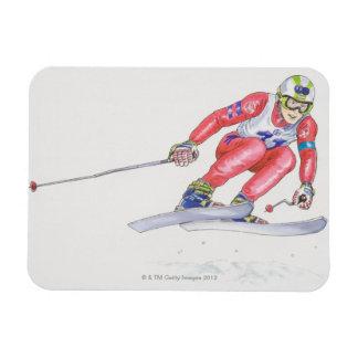 Skier Performing Jump 2 Rectangular Photo Magnet
