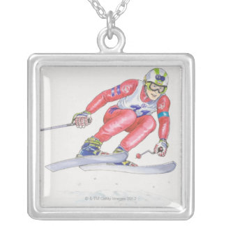 Skier Performing Jump 2 Silver Plated Necklace