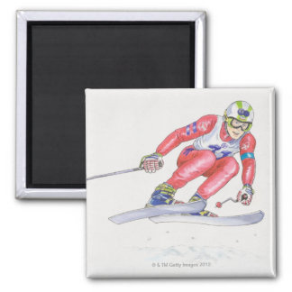 Skier Performing Jump 2 Square Magnet