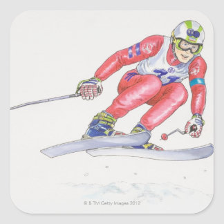 Skier Performing Jump 2 Square Sticker