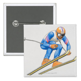 Skier Performing Jump 15 Cm Square Badge