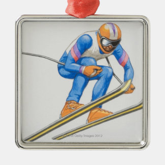 Skier Performing Jump Christmas Ornament