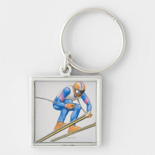 Skier Performing Jump Key Chain
