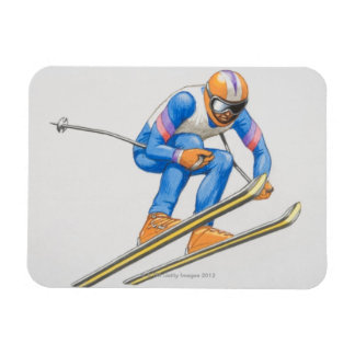 Skier Performing Jump Rectangular Photo Magnet