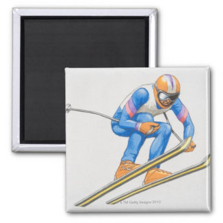 Skier Performing Jump Square Magnet
