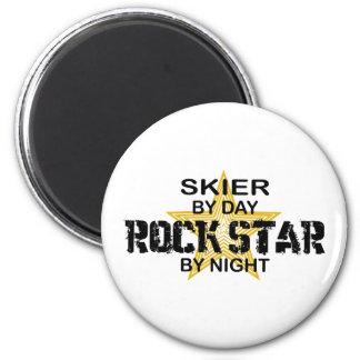 Skier Rock Star by Night 6 Cm Round Magnet