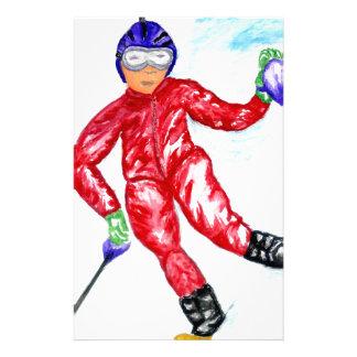 Skier Sport Illustration Custom Stationery