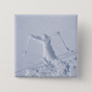 Skiers 2 15 cm square badge