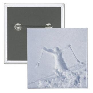 Skiers 2 15 cm square badge