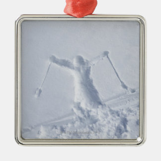 Skiers 2 Silver-Colored square decoration