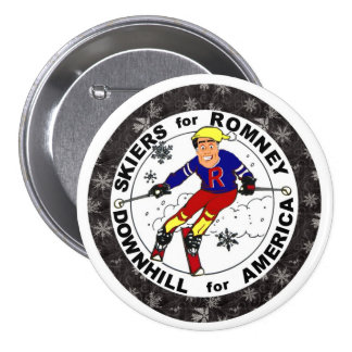 Skiers for Romney 7.5 Cm Round Badge