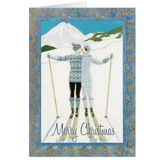 Skiers in Love Christmas Card