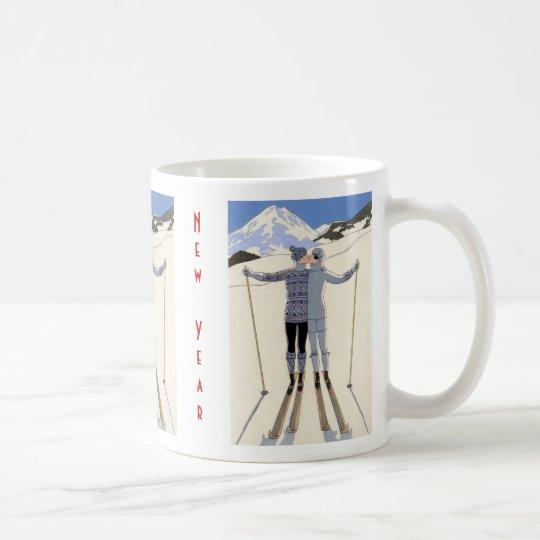 Skiers kiss - Happy New Year Coffee Mug