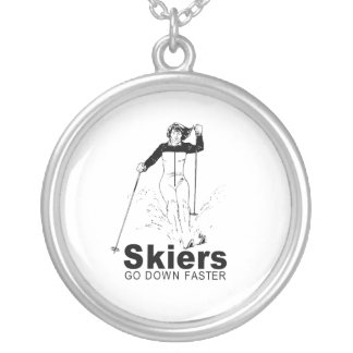 Skiers Round Pendant Necklace