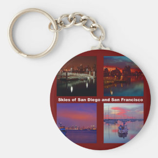Skies of San Diego and San Francisco Basic Round Button Key Ring