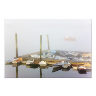 Skiffs and morning fog in Southwest Harbor, Photographic Print