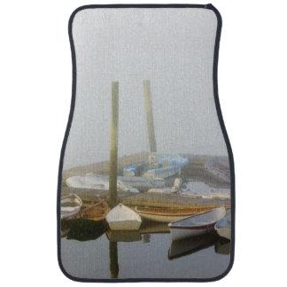 Skiffs and morning fog in Southwest Harbor, Car Mat