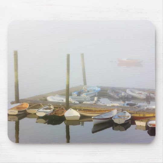 Skiffs and morning fog in Southwest Harbour, Mouse Pad