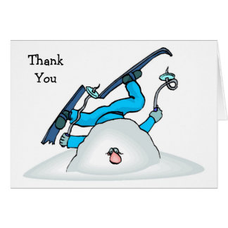 Skiier Skiing Winter Snow Thank You Cards