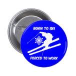 Skiing 6 Cm Round Badge