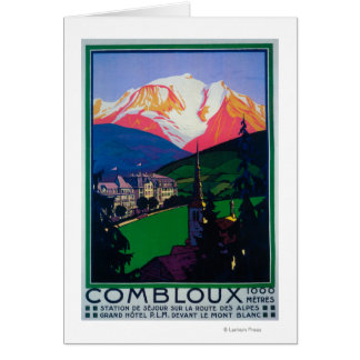 Skiing at Combloux Promotional Poster Greeting Card