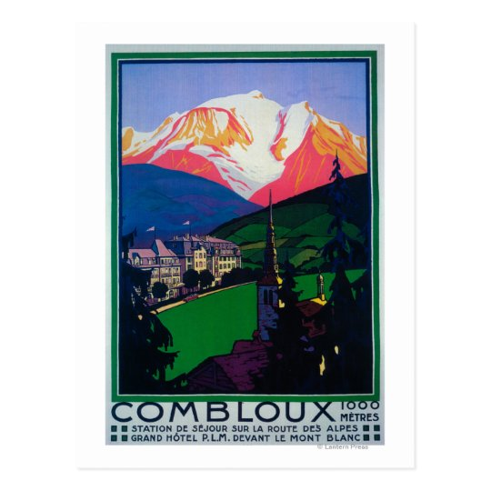 Skiing at Combloux Promotional Poster Postcard