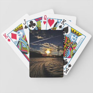 skiing at sunset bicycle playing cards