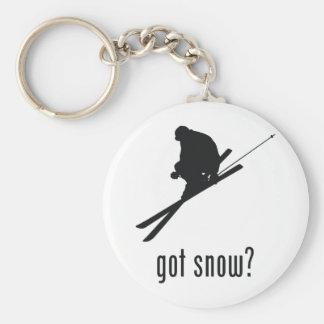 Skiing Basic Round Button Key Ring