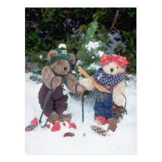 Skiing bears postcard