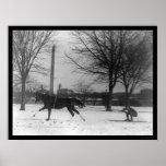 Skiing Behind Horse Washington, DC 1919 Print