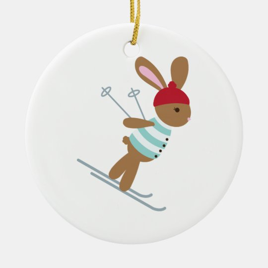 Skiing Bunny Christmas Ornament