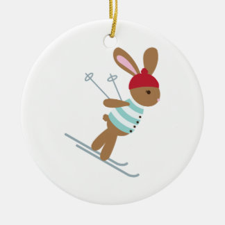 Skiing Bunny Round Ceramic Decoration