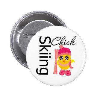 Skiing Chick 6 Cm Round Badge
