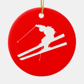 skiing christmas ornament