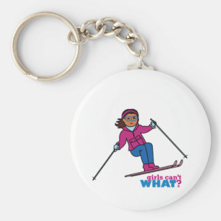 Skiing - Dark Basic Round Button Key Ring