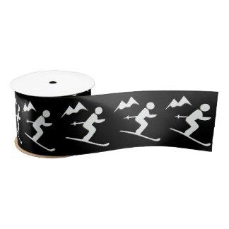Skiing Design Ribbon Satin Ribbon