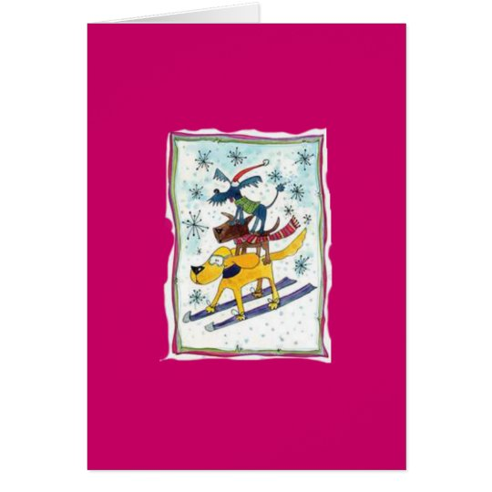 Skiing dogs card