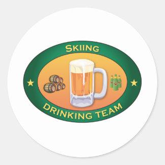 Skiing Drinking Team Round Sticker