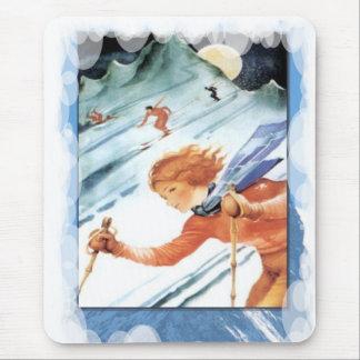 Skiing -Enjoying the downhill run Mouse Pad