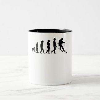Skiing Evolution Two-Tone Coffee Mug