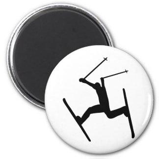 skiing extrem icon 6 cm round magnet