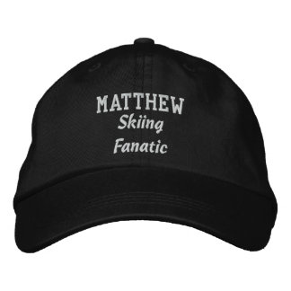 Skiing Fanatic Custom Name V07M Embroidered Hat