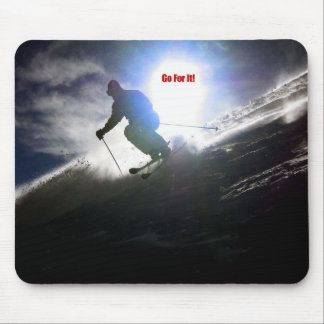 Skiing, Go For It! Mouse Mat