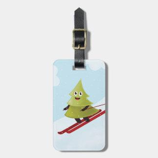Skiing Happy Pine Tree Winter Luggage Tag