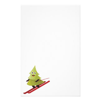 Skiing Happy Pine Tree Winter Stationery