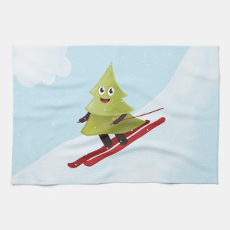Skiing Happy Pine Tree Winter Tea Towel